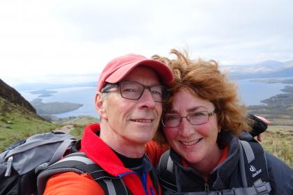 Peter en Trudie, West Highland Way, Schotland